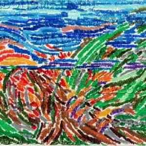 шмель, абстракция, пастель, резонансная графика