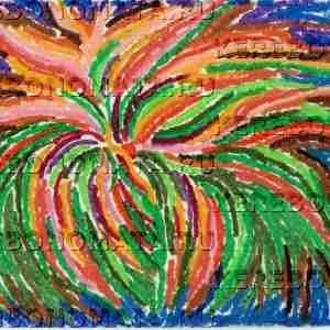 цветок, абстракция, пастель, резонансная графика