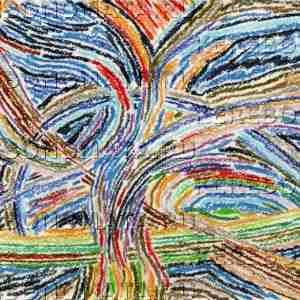 магическое древо, абстракция, пастель, резонансная графика