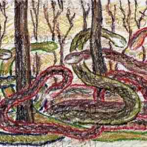 дом змей, примитивизм, пастель, резонансная графика