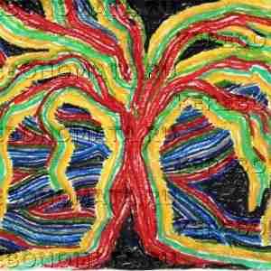 мировое древо, абстракция, пастель, резонансная графика